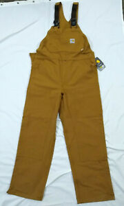 CARHARTT BROWN FLAME RESISTANT FR DUCK BIB OVERALLS UNLINED NWT 36x32