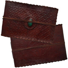 Real Leather Handmade Photo Album Scrapbook Embossed Green Stone 2nds Quality