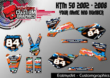 FOR KTM 50 2002 - 2008 CUSTOM GRAPHICS SX PRO SENIOR PRO JUNIOR MOTOCROSS DECALS
