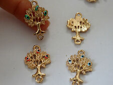 4 tree of life evil eye charms pendant cinnectors enamel gold tone UK wholesale