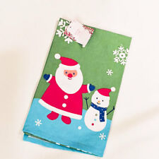 Christmas Retro Santa & Snowman Single Cotton Kitchen Towel Dishtowel