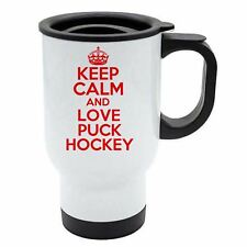 Keep Calm And Love Puck Hockey Thermo Reisetasse rot - weiß Edelstahl
