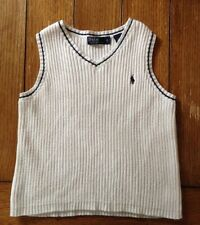 Boy's Polo by Ralph Lauren White V-Neck Sweater Vest-Size 4