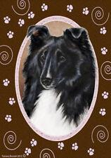 Garden Indoor/Outdoor Paws Flag - Black & White Shetland Sheepdog Sheltie 172281