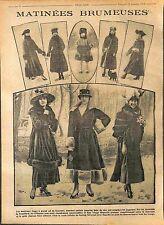 Manteau long col de Fourrure Chapeau Bottine Sac Mode Fashion Croquis WWI 1916