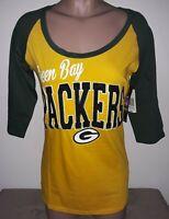 GREEN BAY PACKERS NFL Team Apparel by NEW ERA Womens 3/4 Sleeve T-Shirt M