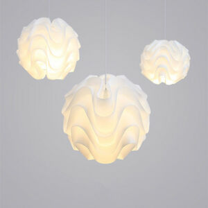 Modern LED Pendant Light White Plastic Shade Suspension Lamp Lighting