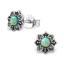 Light Turquoise Opal Vintage Flower Sterling Silver Stud Earrings 7mm