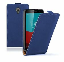 SLIM BLUE Leather Flip Case Cover Pouch For Vodafone Smart Prime 7 (+2 FILMS)