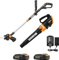 WORX WG921 20V Cordless Trimmer And Leaf Blower Combo