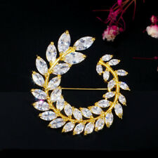 CWWZircons CZ Leaf Flower Yellow Gold Brooches Pin Scarf Buckle for Women