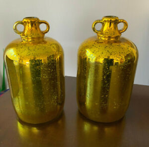 2 VNT Gold Painted Mercury Glass Jug Jar vase bottle Diamond Star Corp 1.5 Gal?