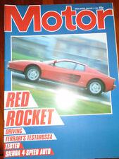 Motor 12/1/85 Ford Sierra 2.0 Ghia Auto, Ferrari Testarossa