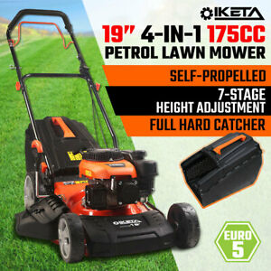 19'' Lawn Mower 175cc Petrol Self-Propelled Push Lawnmower 4-IN-1 Grass Catcher