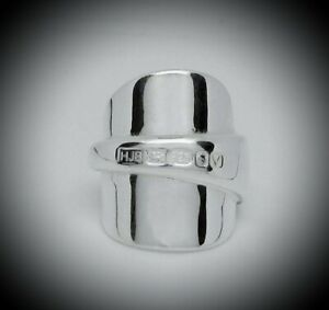 BRAND NEW CHUNKY SOLID STERLING SILVER NEW SPOON RING ENGLISH HALLMARKS