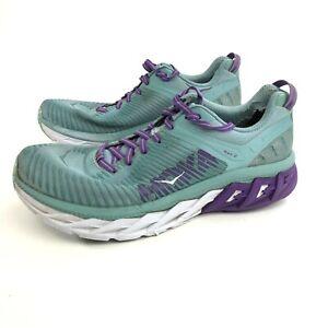 Hoka One One Womens Arahi 2 Blue Lace Up Sneaker  Athletic Shoes Size 10.5