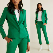 Green Women Work Pant Suits 2 Piece Ladies Slim Fit Blazer Trouserd Custom SZ