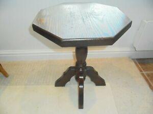 Vintage solid oak lamp wine table, octagonal, turned central column