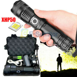 Most Power 900000LM Flashlight XHP50 LED Tactical Police 18650 Torch Lamp Zoom