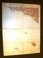 Grande carta geografica del 1909 Sciacca, Linosa, Lampedusa, Sicilia T.C.I.