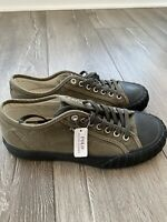 Polo Ralph Lauren Xander Canvas Low Top Sneaker Vibram Sole Olive Size 7.5 Mens