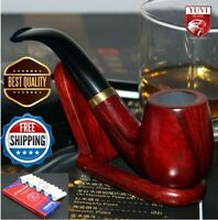 Ebony Tobacco Smoking Wood Pipe Set Fittings Cleaners Pipes Solid Red Handmade