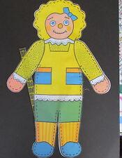 "Vintage 70s fabric panel cloth rag doll ut n sew precut 24"" yellow Menen"