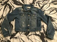 Girls Lipsy Distressed Denim Jacket Age 7 New With Tags