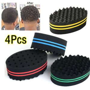 4pc Barber Hair Brush Sponge Dreads Locking Twist Afro Curl Coil Wave Hair Tool