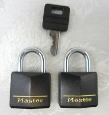 "Set of 2 Master Padlock Black Vinyl Coated Brass Keyed Alike 1 Key 2"" H"