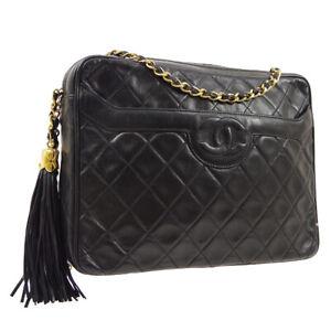 CHANEL Quilted Fringe CC Single Chain Shoulder Bag Black Leather AK38475k