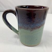 "VTG Large Pigeon River Pottery Coffee Cup Mug 5"" Blue Brown Drip Glazed Signed"
