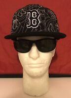 New Era 59Fifty MLB Boston Red Sox Thick Black/White Logo B Black Flat Bill Hat