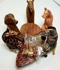 Hand Carved Wood African Animal Party Set - Made In Kenya - Africana African