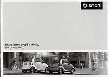 Smart ForTwo Specification 2010 UK Market Brochure Coupe Cabriolet