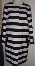 M&S  BLACK AND WHITE COLLARLESS STRIPED COAT, POPPER FASTENING SIZE 14 BNWT