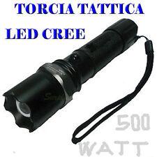 TORCIA TATTICA MILITARE 500 WATT CON ZOOM+CONO SOS RICARICABILE DA AUTO/CASA 02