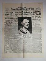 N1020 La Une Du Journal herald tribune 22 may 1927 Lindbergh lands safely Paris