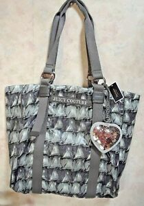 NWT JUICY COUTURE GRAY NYLON TOTE HANDBAG MSRP 148.00 ATTACHED HEART CHARM