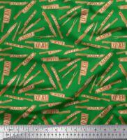Soimoi Verde popelina de algodon Tela texto y cuchillo cocina estampados-CXH