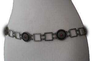 Women Ethnic Brown Tie Belt Hip Waist Vintage Silver Metal Flower Charm M L XL