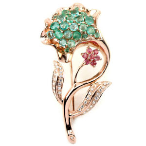 REAL GREEN COLUMBAIN EMERALD RUBY & WHITE CZ STERLING 925 SILVER FLOWER BROOCH