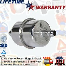"Silver Chrome Fuel Filter Universal Fits 3/8"" ID Hose Inline Auto Car Fuel Parts"