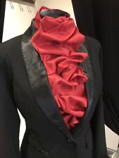 Red Taffeta Rouched stock,ready tied stock, horse riding stock Hand Made