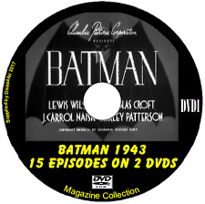 Batman (1943) Complete 15 Episodes TV Serial 2 DVDs approx 4 hrs 20 mins total