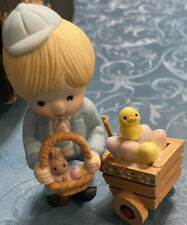 Vintage Enesco Collectible Figurine 1982 Easte boy with basket and cart