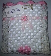 "LOVELY HAND CROCHET BABY DOLL BLANKET:WHITE & PINK RIBBONED 18"" x 18"""
