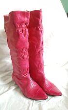 Mocachen Women's Boots Pink Leather Kitten Heels size 6.5