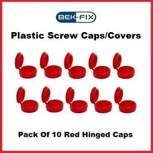 10x BEK-FIX Red Plastic Hinged Screw Caps Fold Over Screw Covers 6-8 Gauge