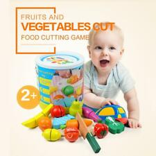 Wooden Kitchen Toys Cutting Fruits Vegetables Pretend Play Baby Puzzle Toys X8V8